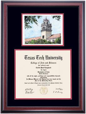 Texas Tech Alumni Association Diploma Frames