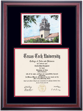 Texas tech alumni association diploma frames diploma display offers several exclusively designed and custom fitted frames for texas tech university diplomas with hand crafted cherry stained frames filmwisefo